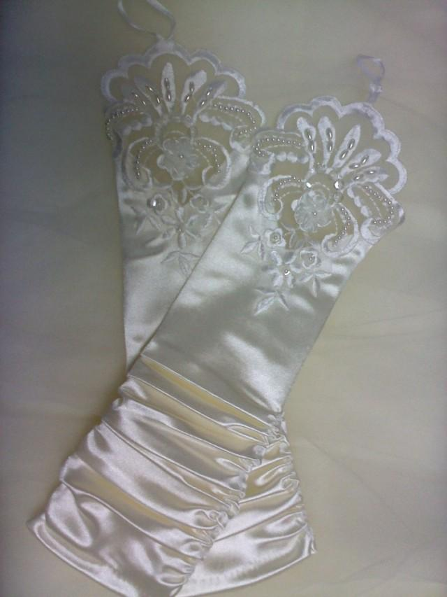 wedding photo - cream ivory fingerless gloves