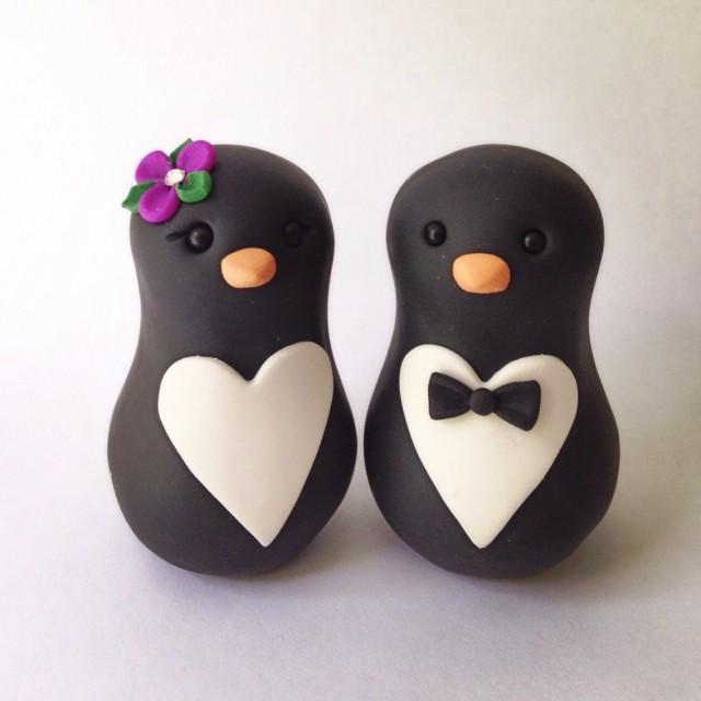 wedding photo - SALE was 70 READY to SHIP Penguin love Wedding Cake Topper Handmade