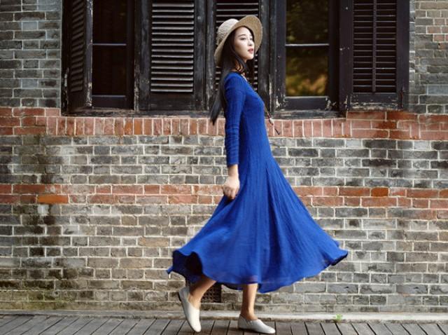 wedding photo - maxi evening dress  in blue,long sleeve dress, linen party dress, wide bottom dress, cocktail dress in blue, blue flared dress, custom