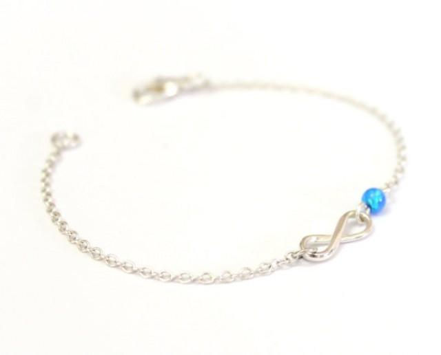 wedding photo - Sterling Silver Infinity and Opal Bracelet, blue tiny opal bracelet, Minimalist Delicate bracelet Birthday Gift, Everyday bracelet,