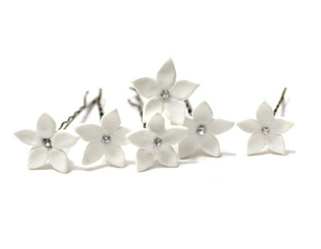 wedding photo - White Jasmine Flower Accessories Hair pin Set of 6, Jasmine Wedding Hair Accessories, Wedding Hair Flower Hair Small Hair Flowers Set of 6