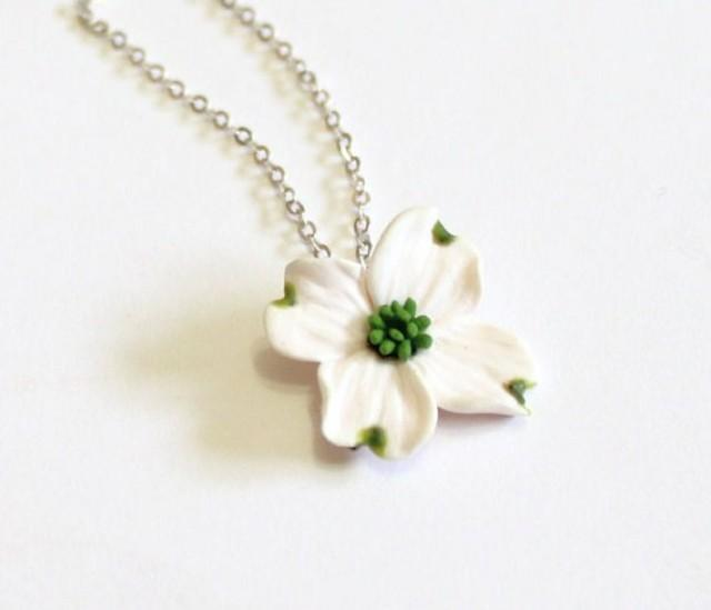 wedding photo - White Dogwood Necklace - Dogwood Jewelry - Gifts - White Dogwood Bridesmaid, Necklace, Bridesmaid Jewelry