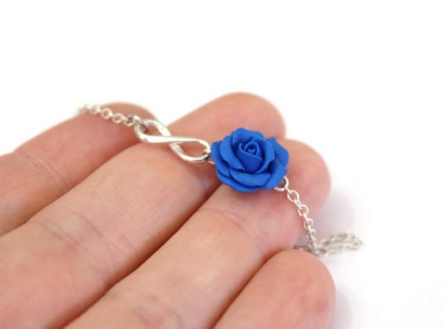 wedding photo - Sterling Silver Bracelet, Blue Rose Infinity Bracelet, Blue Bridesmaid Jewelry, Rose Jewelry, Bridal Flowers, Bridesmaid Bracelet