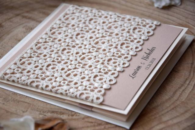 wedding photo - Custom Invitations, Pocketfold Invitation, Rustic Lace Wedding Invite, Lace Wedding Invitation Kit, Elegant Wedding Invitation - SAMPLE