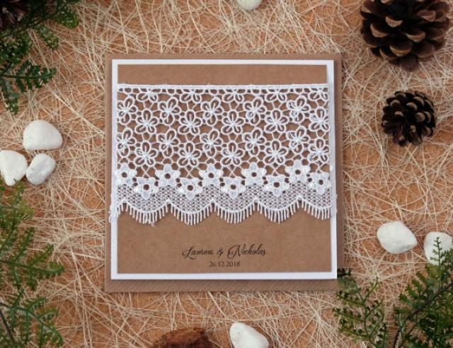 wedding photo - Rustic Wedding Invitations, Wedding Invitation Kits, Floral Wedding Invitations, Rustic Invitations, Lace Wedding Invitations, Pocket