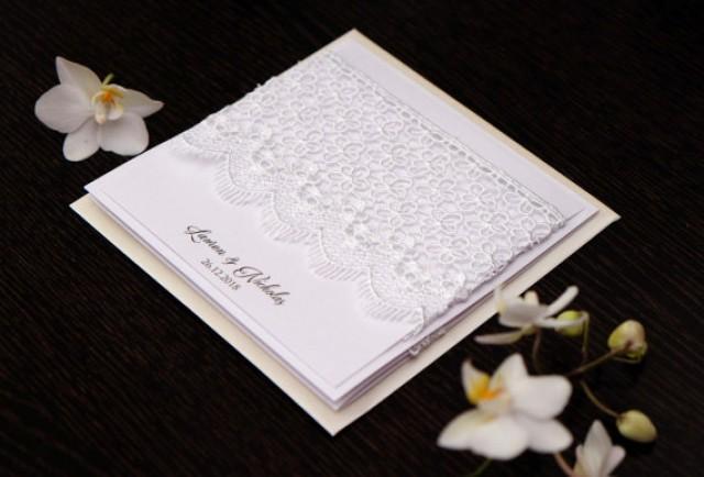 wedding photo - Elegant Wedding Invitations, Lace Invitations, Luxury Wedding invitations, Custom Invitations, Elegant Invitations, Guipure Invitations