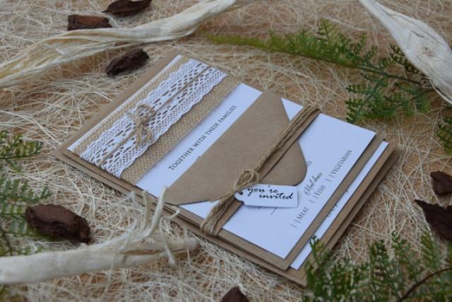 wedding photo - Burlap Wedding Invitations, Lace Wedding Invitation, Rustic Lace Wedding Invitations, Lace Invitations, Rustic Wedding Invitations - SAMPLE