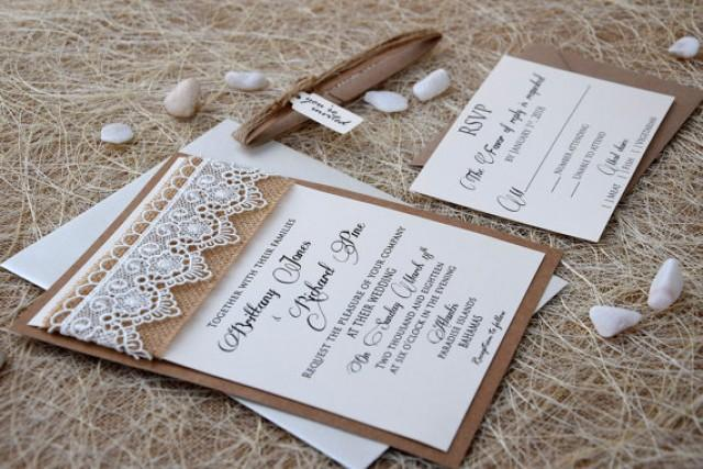 wedding photo - Lace Wedding Invitation, Burlap and Lace Wedding Invitation, Rustic Wedding Invitation, Burlap Invitation, Lace Invitation - SAMPLE