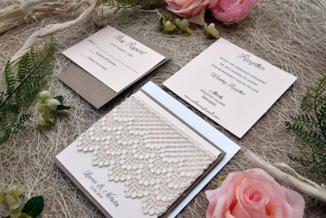 wedding photo - Custom Coral Wedding Invitation, Rustic Lace Wedding Invitation Kit, Simple Wedding Invitation, Pocketfold Wedding Invitation - SAMPLE