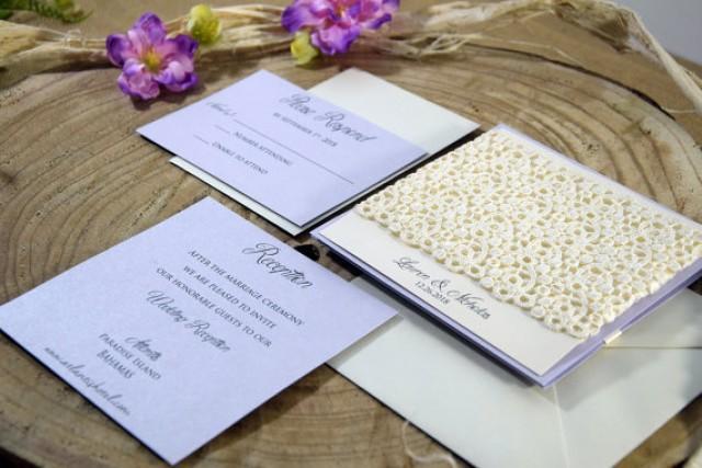 wedding photo - Purple Wedding Invitation, Rustic Wedding Invitation, Lavender Wedding, Shabby Chic Invitation, Lace Wedding Invitation - SAMPLE