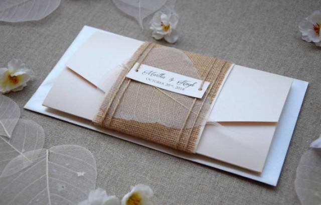 wedding photo - Burlap Wedding Invitation, Pocketfold Invite, Rustic Wedding Invite, Pocket Wedding Invitation, Simple Wedding Invitation - SAMPLE
