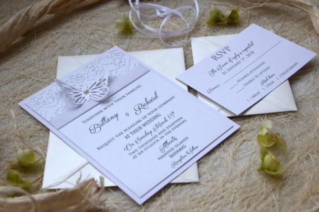 wedding photo - Elegant Invitation Butterfly Wedding Invitation Embossed Wedding Invitation Unique Wedding Invitation Custom Invitations - SAMPLE