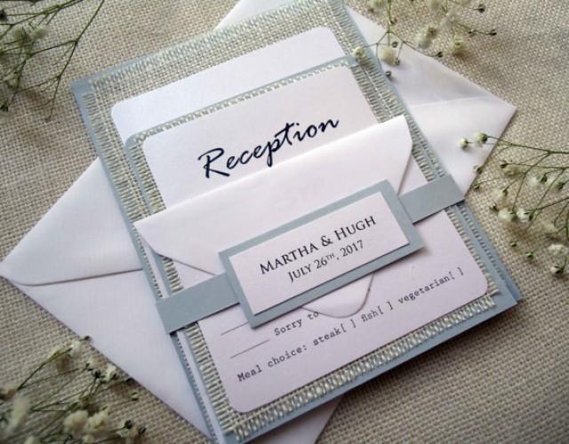 wedding photo - Rustic Wedding Invitation Burlap Invitation Custom Invitation Country Simple Grey Wedding Invitation