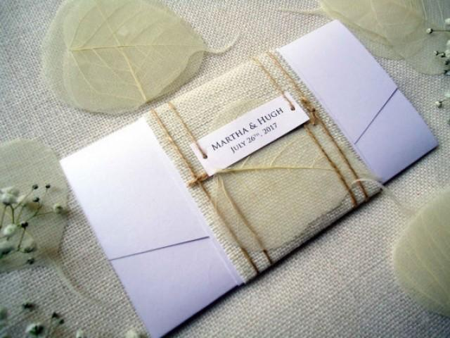 wedding photo - Pocket Wedding Invitations Burlap Invitations Rustic Wedding Invitations Simple and Unique Wedding Invitation