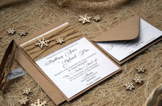 wedding photo - Winter Wedding Invitation Winter Custom Invitations Snowflake Wedding Invitation Burlap Wedding Invitation Rustic Wedding Invite- SAMPLE