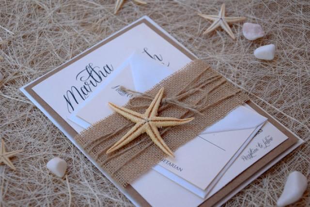wedding photo - Rustic Invitations, Beach Wedding Invitation, Starfish Invitation, Unique Wedding Invitation, Burlap Wedding Invitation - SAMPLE