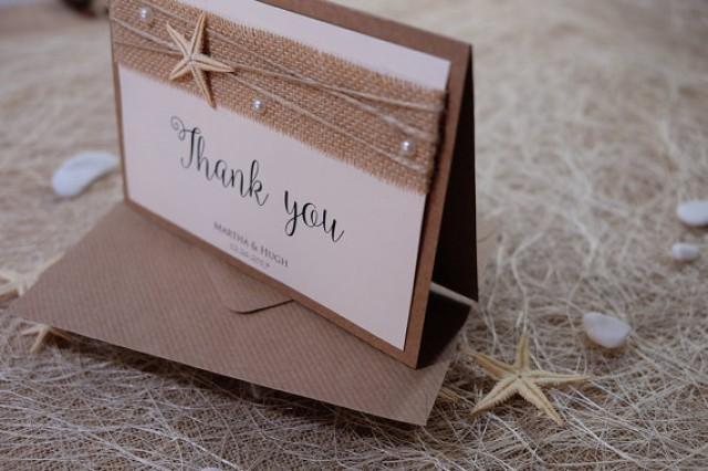wedding photo - Wedding Thank You Card, Thank You Notes, Thank You Card Folded, Beach Wedding Thank You Card, Burlap Thank You Notes, Rustic Thank You
