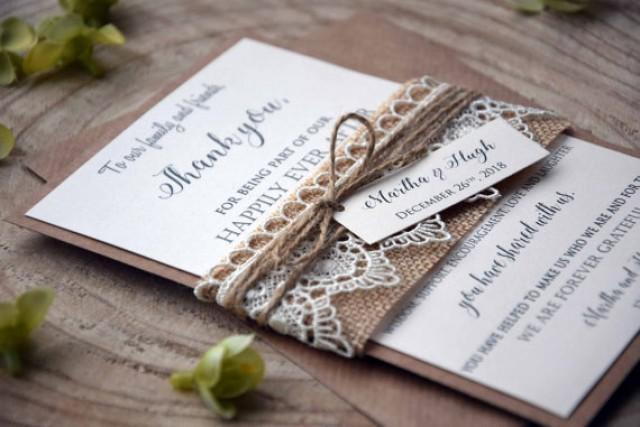 wedding photo - Rustic Lace Wedding Thank You Cards, Rustic Thank You Cards Wedding, Lace Wedding Thank You Notes, Custom Thank You Notes for Wedding