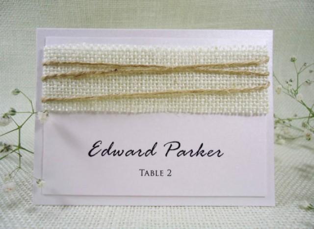 wedding photo - White Burlap Wedding Place Cards Name Place Cards Holders for Weddings Burlap Place Cards