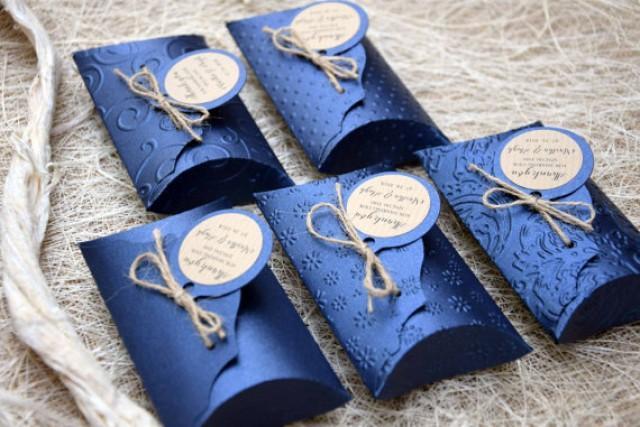 wedding photo - Rustic Pillow Boxes (5), Favor Pillow Boxes, Wedding Favor boxes, Rustic Party favor boxes, Blue Wedding Pillow Boxes - PACK of 5