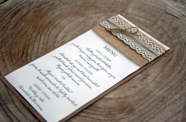 wedding photo - Wedding Dinner Menu, Wedding Menu, Bridal Shower Menu, Rustic Wedding Dinner Menu, Rustic Lace Wedding Menu, Burlap Wedding Menu