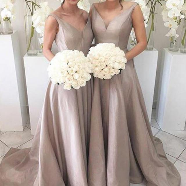 wedding photo - Simple Bridesmaid Dress - Silver V-neck Ruched Taffeta with Sweep Train