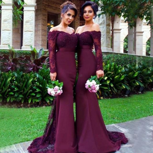 wedding photo - Off Shoulder Mermaid Bridesmaid Dress with Beading Sash Lace Long Sleeves