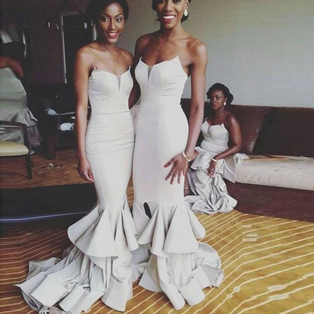 wedding photo - Elegant Mermaid Bridesmaid Dress - Light Grey Sweetheart Tiered Sweep Train with Ruffles