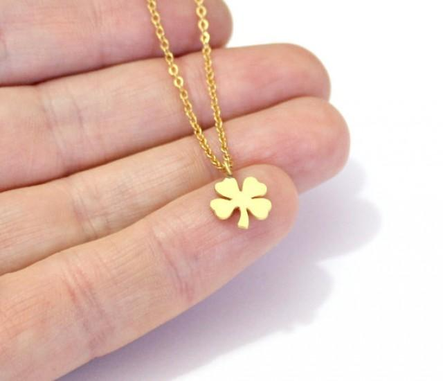 wedding photo - Four leaf clover necklace, Clover Necklace In Gold Necklace Minimalist Layered Necklace, Shamrock Pendant, Birthday gift, Best friend gift,
