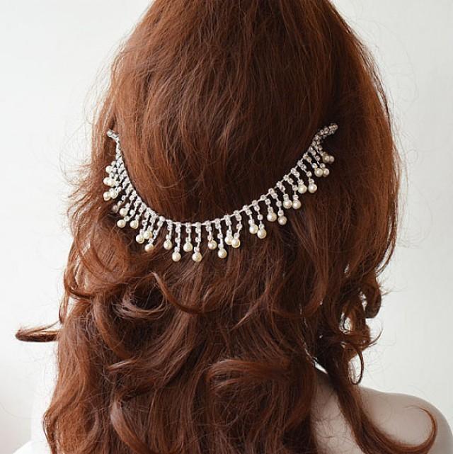 wedding photo - Wedding pearl headpiece, wedding hair accessories, wedding headband, Bridal headpiece, wedding hair jewelry