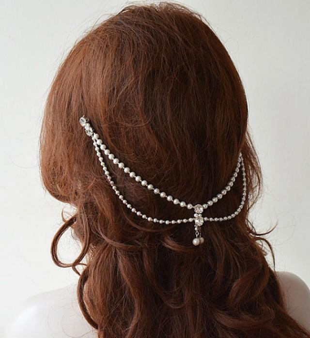 wedding photo - Bridal Hair Accessory, Bridal Head Chain, Pearl Hair Jewelry, Bridal Headpiece, Wedding Headpiece, Wedding Headband