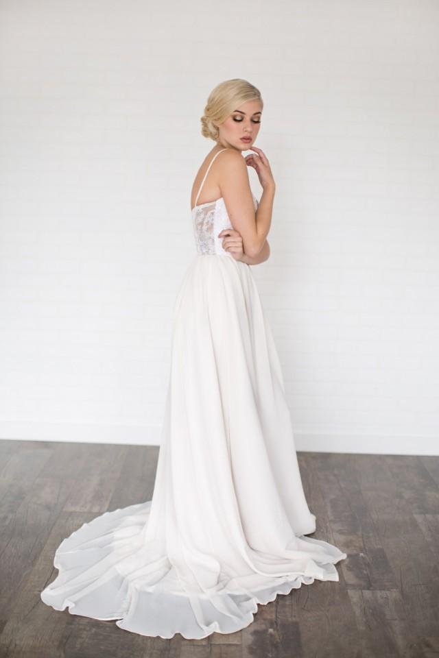 wedding photo - Daze Wedding Dress //Modern Boho Chiffon Wedding Dress / Sequin Sweet Heart Neckline with Illusion Lace Back/ Gathered Chiffon Flowing Skirt