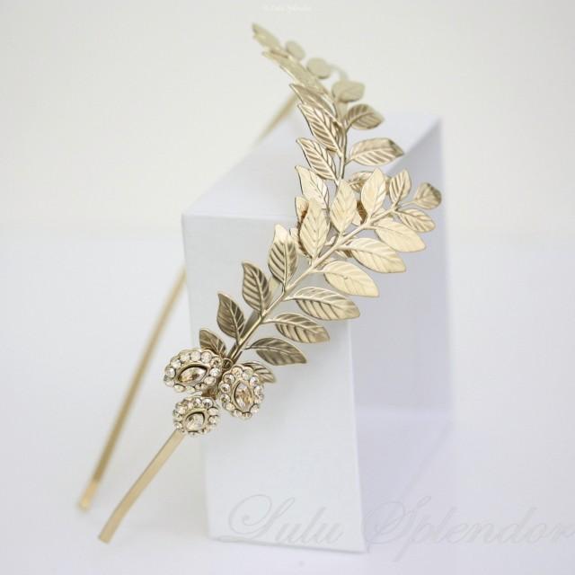 wedding photo - Gold bridal headband Grecian leaves headpiece Gold Leaf Wedding Headband Wedding Hair Accessories Side Tiara Golden Shadow Crystal  SOFIA