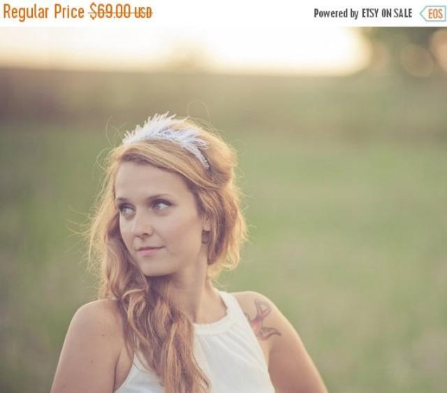 wedding photo - SALE Rhinestone Tiara - Feather Headband - Bridal Crown - Ivory Crown - Black Crown - Boho Headpiece - Wedding Headband - Bridal Tiara