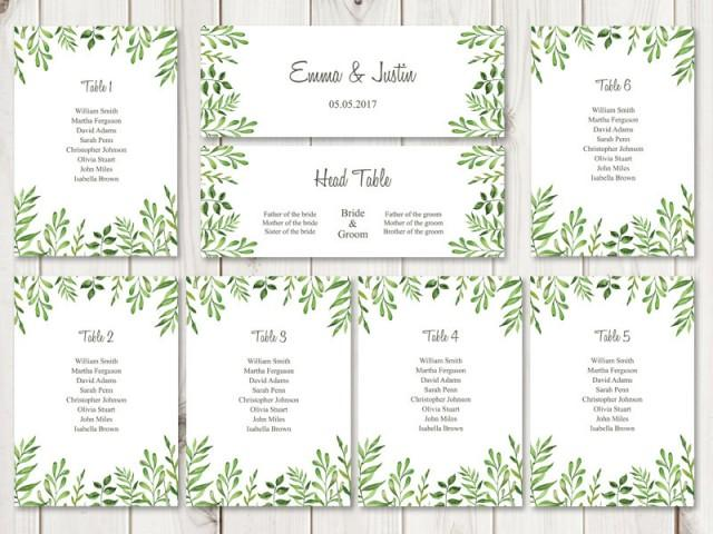 watercolor wedding seating chart template lovely leaves green diy printable seating list. Black Bedroom Furniture Sets. Home Design Ideas