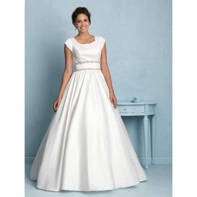 Allure modest m535 satin ball gown wedding dress crazy for Modest wedding dresses for sale