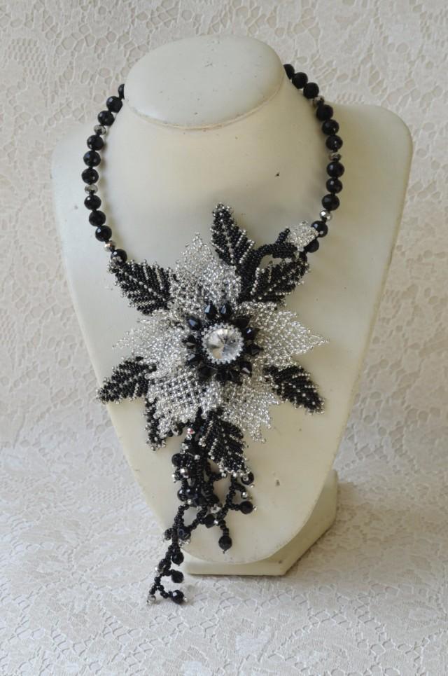 black and silver jewelry statement flower choker