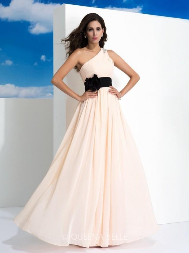 wedding photo - A-Line/Princess One-Shoulder Sash/Ribbon/Belt Sleeveless Floor-Length Chiffon Dresses