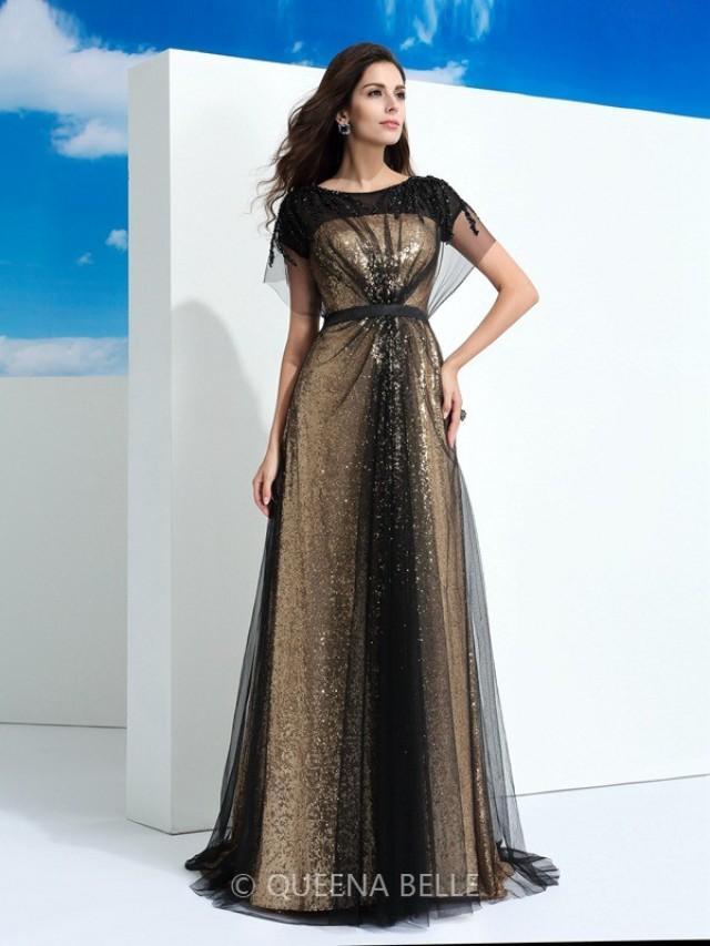 wedding photo - A-Line/Princess Sheer Neck Paillette Short Sleeves Floor-Length Net Dresses