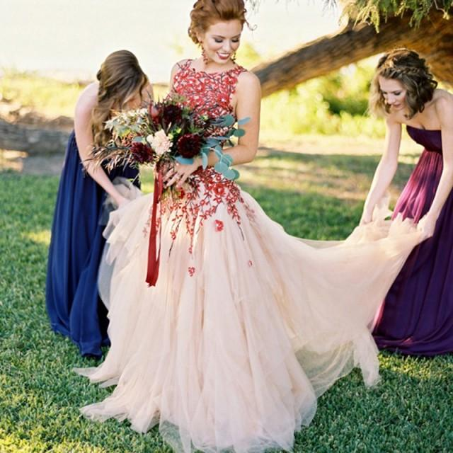 wedding photo - Exclusive Bateau Sleeveless Sweep Train Wedding Dress - Backless with Embroidery Flower