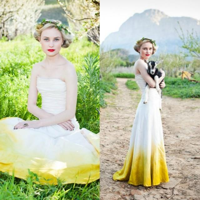 wedding photo - Simple Wedding Dress - Strapless Colored Sweep Train Ruched