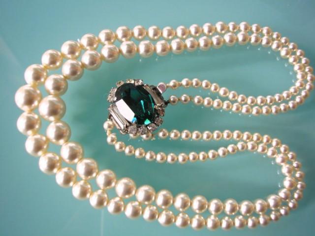 wedding photo - Emerald Necklace, Pearl Choker, Emerald and Pearl, Great Gatsby, Bridal Pearls, Art Deco, Wedding Jewelry, Pearl Necklace, Green Rhinestone