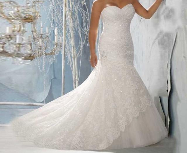 wedding photo - Bling Brides Elegant Mermaid Sweetheart Sleeveless Strapless Lace Wedding Dress Sweetheart neck lace Bridal gown
