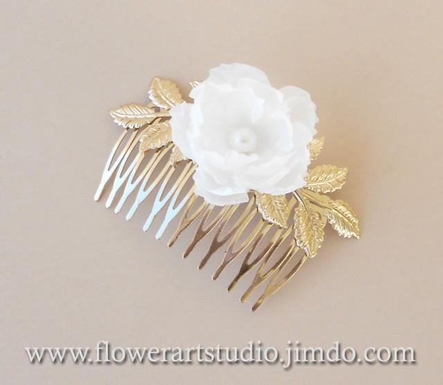 Bridal Ivory Flower Hair Accessories : Ivory or white bridal hair flower comb
