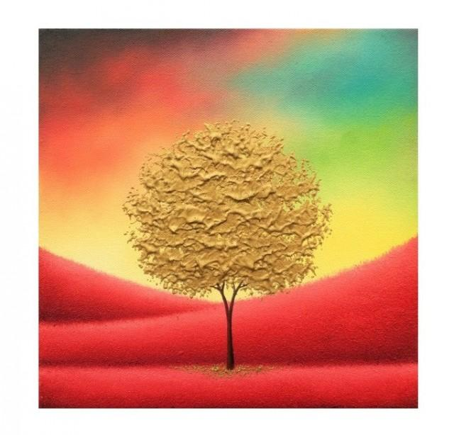 wedding photo - Gold Tree Painting, Palette Knife Art Impasto Painting, ORIGINAL Oil Painting, Modern Canvas Art, Textured Abstract Tree Landscape, 10x10