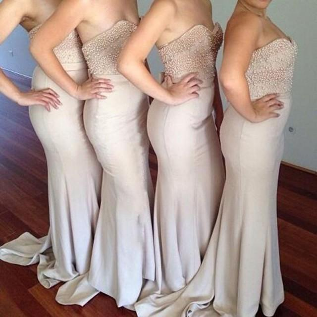 wedding photo - Decent Sweetheart Sheath Bridesmaid Dress - Flesh Color Sweep Train with Bowknot Pearl