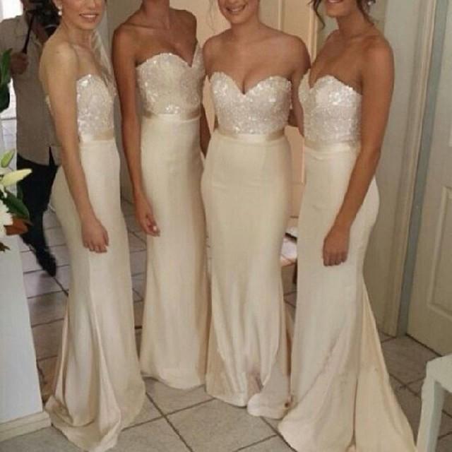 wedding photo - Glamorous Sweetheart Mermaid Bridesmaid Dress - Ivory Sweep Train with Beading Sash