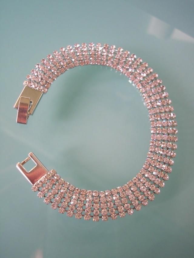 wedding photo - Diamante Bracelet, Rhinestone Cuff, Bridal Bracelet, Wedding Jewelry, Great Gatsby Jewelry, Vintage Bridal Jewelry, Art Deco Style