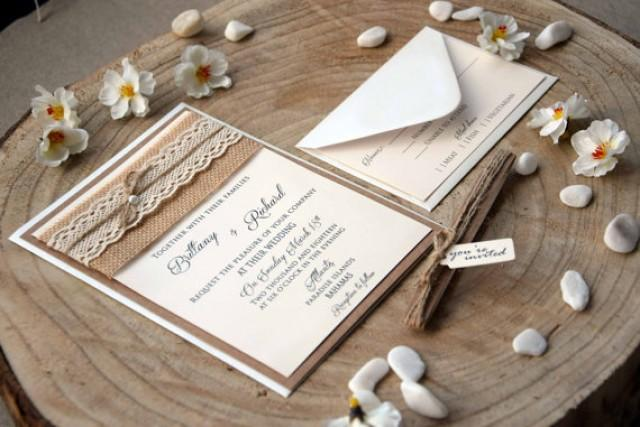 wedding photo - Rustic Wedding Invites, Burlap and Lace Wedding Invitation, Burlap Wedding Invitation, Rustic Lace Wedding Invite, Invitation Wedding SAMPLE