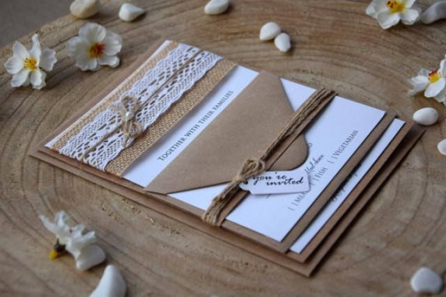 wedding photo - Burlap Wedding Invites, Lace Wedding Invitation, Rustic Lace Wedding Invitation, Lace Invitation, Rustic Wedding Invites - SAMPLE